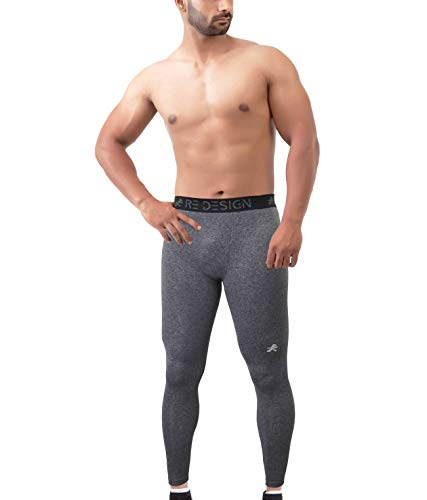 ReDesign Apparels Men Nylon Sports Compression Pant/Legging/Full Tights (Color Options) (XXL, Anthra Grey)