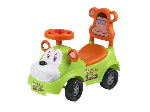 TARAWIN Toy__ Jungle _Ride _Toy-CAR__with Horn and Music for Baby BOY and Girl Rider for Infant to Toddler Magic CAR , Push Tricycle , Non Pedal Skate 1+Years Weight Capacity 15kg (Green)