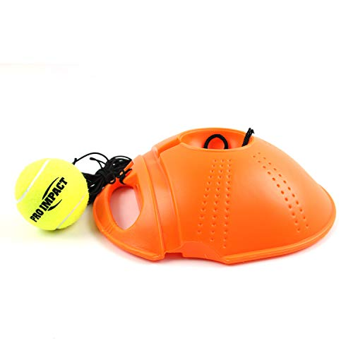Pro Impact Tennis Trainer Rebounder Ball, Trainer Baseboard with Long Rope, Perfect Solo Tennis Trainers Round and Rectangular (Orange Cone)