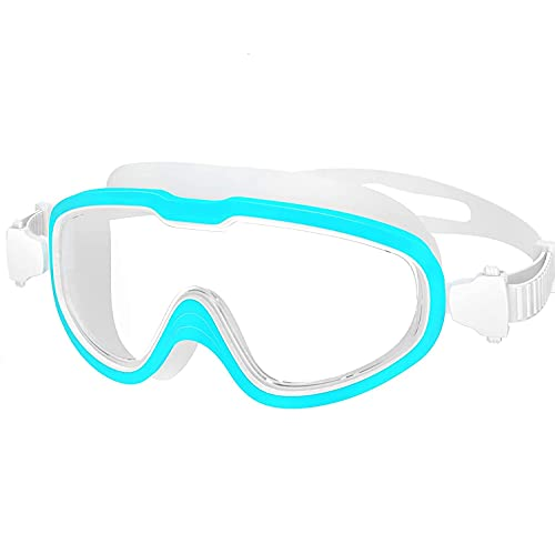 Mokshith Premium Swim Goggles, Fashionable Swimming Goggles Anti Fog No Leaking with UV Protection and Clear Lens Wide-Vision for Men Women Adult Youth with Free Case, Nose Clip and Ear Plugs