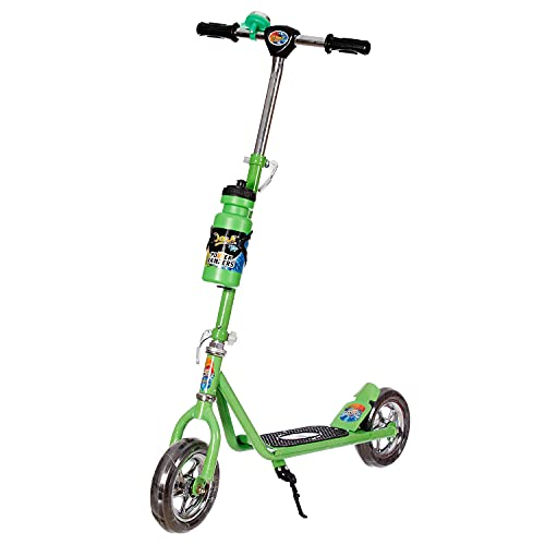 Dash Power Ranger 2 Wheel Scooter for Kids with Sipper, Bell, Stand and Adjustable Height Upto 12 Years Kids (Capacity 60 kg, Green)
