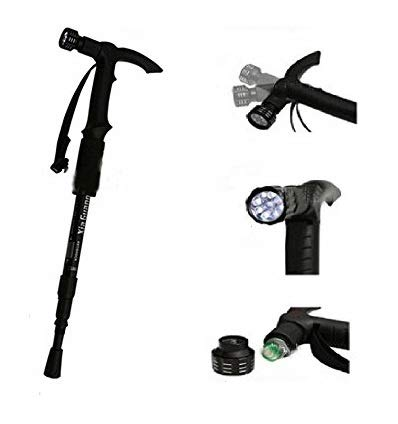 Hiking Trekking Walking Stick with 9 Led Pole with Compass