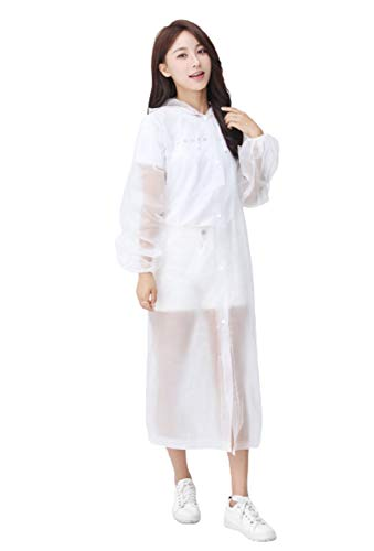 TBOP Outdoor Hiking Thickening Adult Poncho Ultralight Unisex Non-Disposable Raincoat_Cuff Rubber Band(145cm*68cm_White_ Color May Slightly Vary)