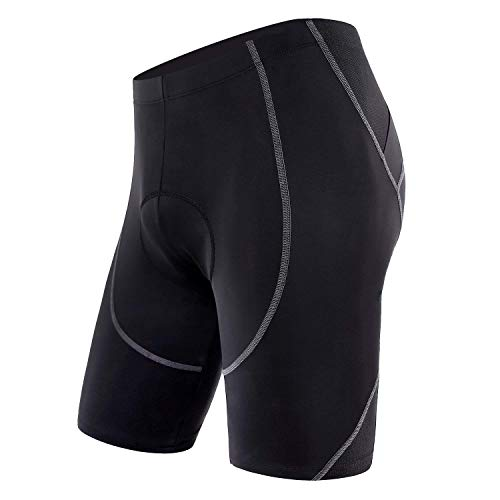 Sportneer Men's Cycling Shorts 4D Coolmax Padded Bike Bicycle Pants Tights, Breathable & Absorbent Black