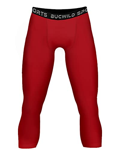 Bucwild Sports 3/4 Compression Pants Tights Boys & Men Football Running Exercise Red