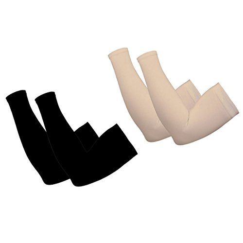 Style Along Black and Skin Colour Arm Cooling Sleeves UV Sun Protection Arm Sleeves for Cycling, Driving, Outdoor Sports, Golf, Basketball Sleeves for Men&Women to Cover Arms- Pack of 2