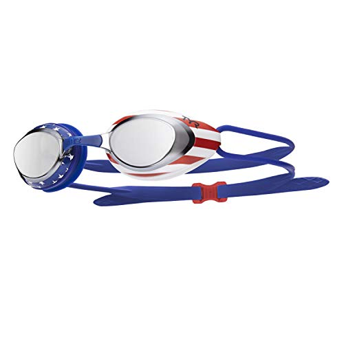 TYR Blend Blackhawk Racing Mirrored USA Swimming Goggles (Silver-Red-Navy)