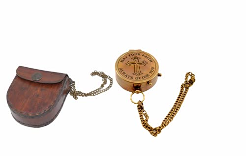 Pocket Compass Chain Compass Camping Compass Brass Nautical with Leather Pouch Classic Pocket Compass Antique Vintage Compass for Hiking,Trekking,Survival,Navigation Gifts by Star NAUTICALS.