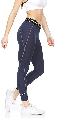 Thermajane Women Compression Pants - Athletic Tights- Leggings for Yoga, Runing, Workout and Sports (XX-Small, Navy)