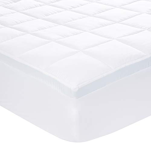 AmazonBasics Down-Alternative Gusseted Mattress Topper with 2-Inch Memory Foam - Queen