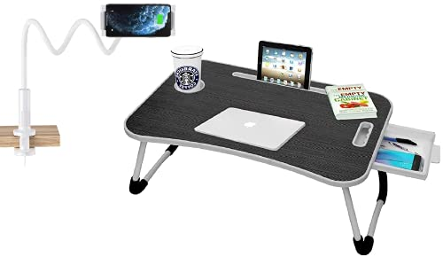 Callas Combo of Multipurpose Foldable Laptop Table with Cup Holder, Mobile Holder and Universal Phone Holder & Tablet Holder with 360° Rotation (in Packing - Laptop Table + Mobile Holder)