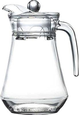 COOZICO Glass Water Jug with Lid Glass Pitcher Hot Water Jug Milk Carafe Glass Water Jug for Dining Table 1400 ml