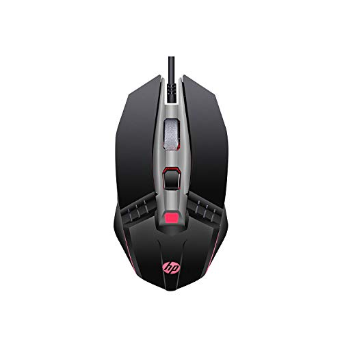 HP M270 Gaming Mouse with Backlit, 7 Buttons, 4-Speed Customizable 2400 DPI, Ergonomic Design & Breathing LED Lighting, Metal Scroll Wheel Lightweight USB Mouse (7ZZ87AA)