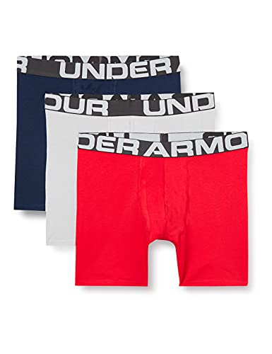 Under Armour Men's Charged Cotton 6-inch Boxerjock 3-Pack , Red (600)/Mod Gray Medium Heather , Large