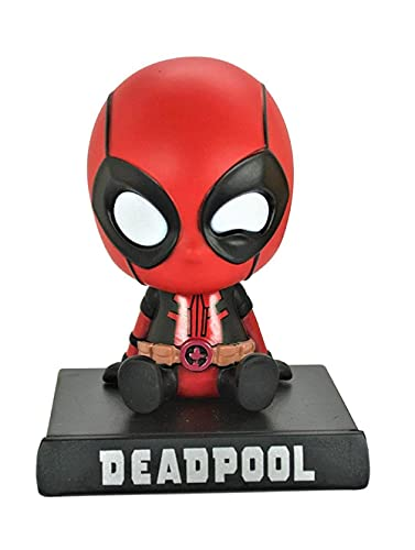 AUGEN Super Hero Dead-Pool Action Figure Limited Edition Bobblehead with Mobile Holder for Car Dashboard, Office Desk & Study Table (Pack of 1)