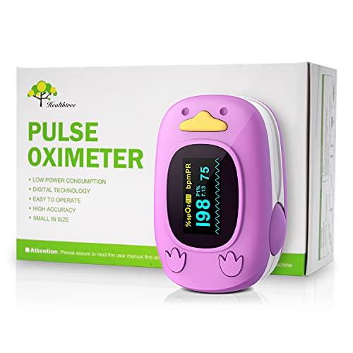 Children Fingertip Pulse Oximeter Blood Oxygen Saturation Monitor for Baby Kids and Pediatric with OLED Screen (Pink)
