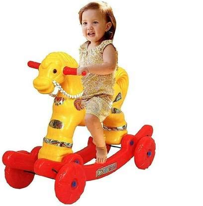 CLASSIC GIFT GALLERY 2 in 1 Non Battery Operated Ride on Wagons Baby Horse Rider Rocker for Kids (Multicolour, 1-4 Years)