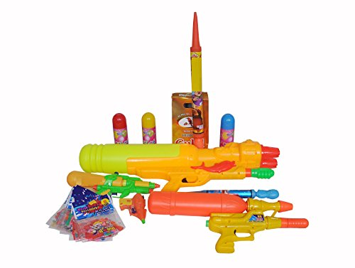 INDIGOCREATIVES Holi Family Combo - Super Soaker with 3 Water Guns with 2 Pichkaris with 3 Foam with gulal 5 Pack
