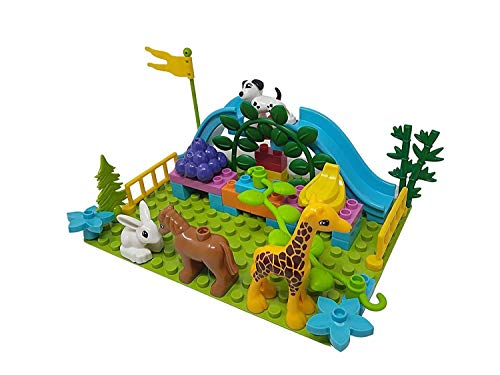 WISHKEY Plastic Animal Figure Park Building Blocks Construction Creative Imaginative Educational Play Set Toys for Kids 3 Years & Above (Pack of 40, Multicolor)