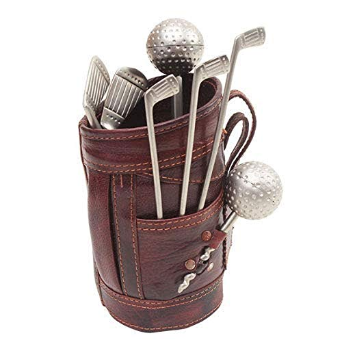 Borse Women's Gift Brown Leatherette Kit Bag With Silver Golf Bar Set - Gift