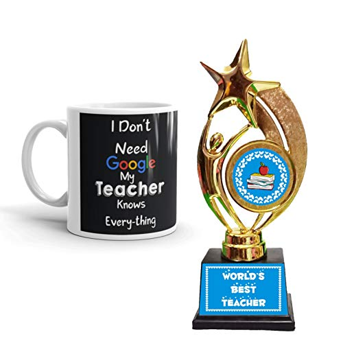 Family Shoping I Don't Need Google My Teacher Knows Everything Black Ceramic Coffee Mug with Trophy for Teacher Award