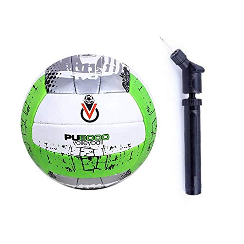 Gyronax Green PU Vollyball, Size no4 with Double Action Air Pump, Pack of 1