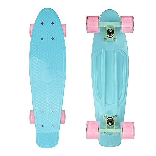 Jaoul Mini Cruiser Skateboards for Beginners, Penny Board 22 Inch Skateboards for Kids 7-10, Funny Cool Skateboards with LED Light Up Wheels