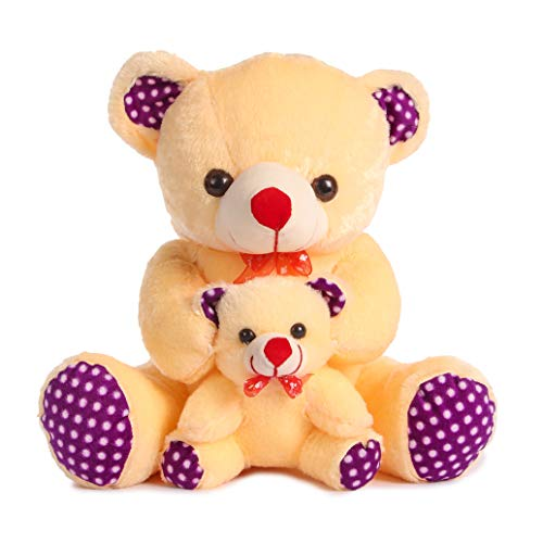 DEALS INDIA Mother And Baby Teddy Bear Cream