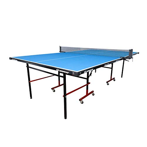 GYMNCO Practice Full Size Table Tennis Table with Wheel & Laminated Top, Table Cover, 2 Tt Racket & Balls