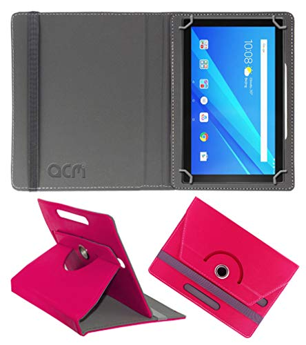 Acm Rotating Leather Flip Case Compatible with Lenovo 10 Inch Byju Tablet Cover Stand Dark Pink