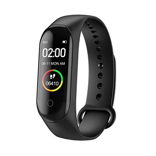 Banlok Smart Band SM4 Fitness Tracker Watch with Activity Tracker Waterproof Body Functions Like Steps Counter, Calorie Counter, Blood Pressure, Heart Rate Monitor LED Touchscreen (Black) (M4)