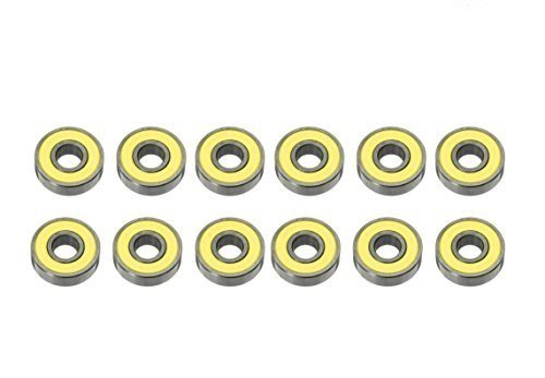 Premsons® Replacement Ball Bearings for Hand Spinner Kit and Skateboard (22 x 10 x 7 mm, Yellow)-Pack of 12