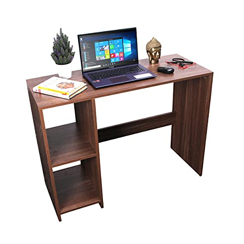 WOODSPA Big Size Home Office Work Desktop Laptop Computer Workstation Students Study Table Modern Gaming Engineered Wood Desk with 2 Storage Shelf Size 100x45x75 cm Brown Wood Pattern