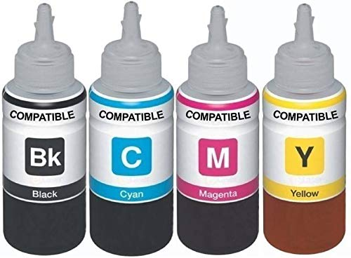Kataria Refill Ink for Use in Epson L200 All-in-One Printer - Cyan, Magenta, Yellow & Black - 70 ML Each Bottle