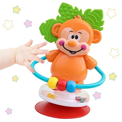 Toyshine Monkey Rattle Teather for Kids with Suction Cup, Gift for Newborn Baby, Rotates and Makes Sound