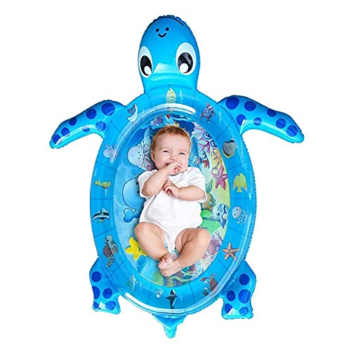 Xiqarn Sea Turtle Baby Kids Water Play Mat Toys Inflatable Tummy Time Leakproof Water Play Mat, Indoor and Outdoor Baby Play mat, Fun Activity Playmat(Blue) (King)