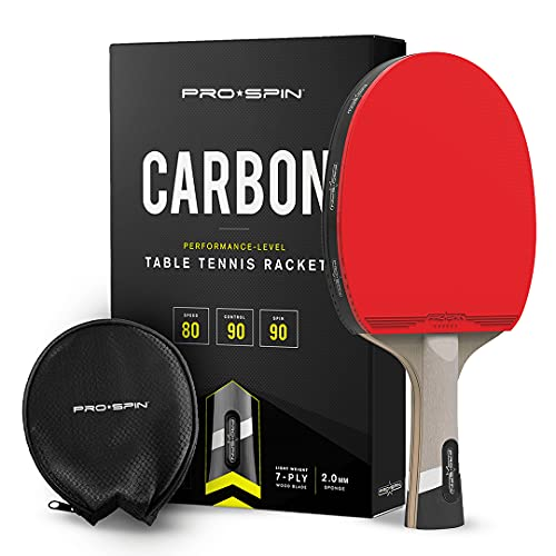 PRO SPIN Elite Series Pro Carbon Ping Pong Paddle   Performance-Level Table Tennis Racket with Carbon Fiber Technology, Bonus Premium Rubber Protector   Professional Table Tennis Paddle