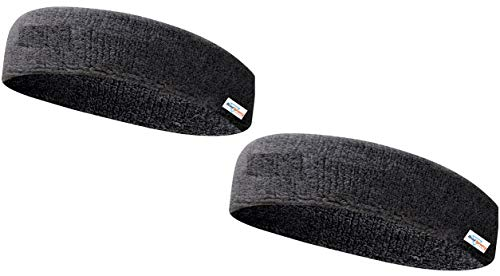 HeadTurners Workout Headband for Women & Men - Moisture Wicking & Non-Slip Exercise Hairband or Sports Sweatband -Ideal for All Sports Like Tennis, TT, Badminton, Running and Yoga- (Black, Set of 2)