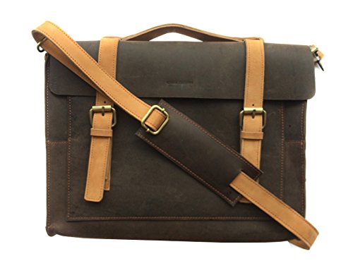 Chalk Factory Heavy Leather Messenger Bag for Laptops of Screen Size Upto 13' #HNDL, Antique