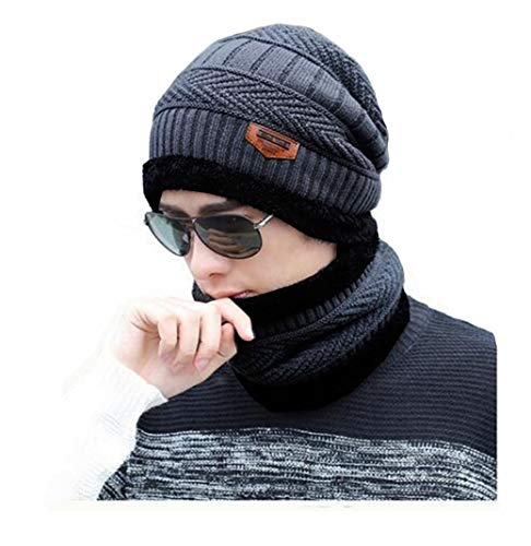 Alexvyan Unisex Imported Snow-Proof (Inside Fur, Blue Check) Woollen Beanie Cap with Warm Winter Scarf