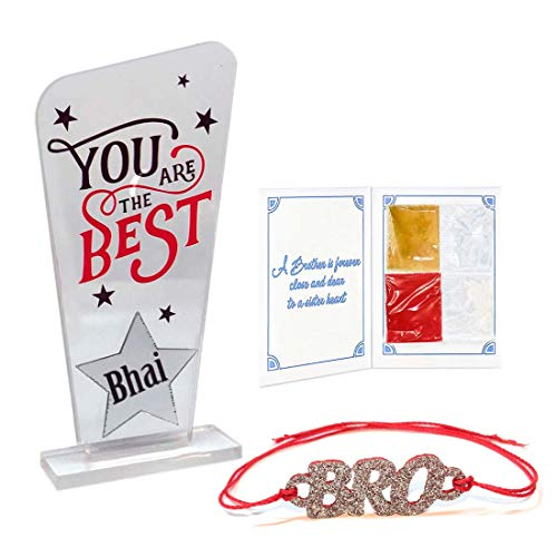 100yellow® Kid's Rakhi and Trophy Gifts Combo for Brother (Multicolour)