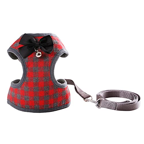 WorldCare® Dog Har with Bowtie Step-in Vest Har Leash Set Pet Cat Vest Dog Leash Set for Daily Wal Running Training(RedL) -CS-A-241957
