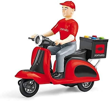 Zomato Food delivery Scooter for Kids, Friction Power, Plastic Pull Back Motorcycle Vehicle, Toys Gift with Light and Music Kids Toy for Baby Boys and Girls (SWIGGY Scooter)