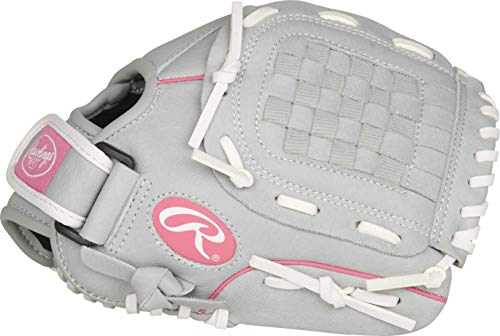 RAWLINGS Sure Catch Series Fastpitch Softball Glove, Pink/Grey/White, Left Hand Throw, 10.5 inch