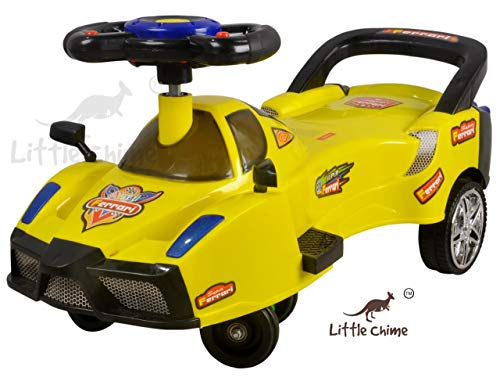 Little Chime Ferrari Magic Car Baby with LED Light Music Seat-Kids Ride on Push car Toys-Twist and Swing Magic Car for Kids Babies Suitable Age 2 Years and Up Boy's and Girl's (Yellow)
