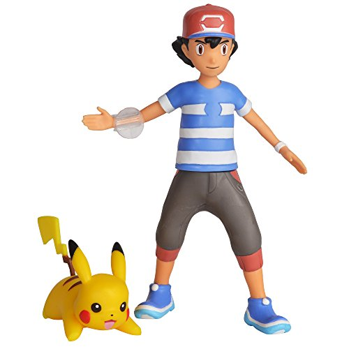 Pokemon 4.5 Inch Battle Feature Action Figure, Features Ash and Launch into Action 2 inch  Pikachu