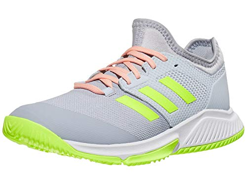 adidas Women's Court Team Bounce Volleyball Shoe, Halo Silver/Yellow/Halo Blue, 9.5