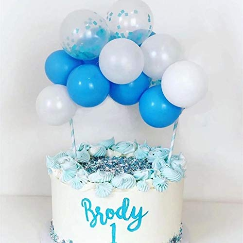 Hippity Hop Pastel Balloons Cake Toppers 5 Inch with 10 Mini Balloons with 2 Sticks & 2 tape for Cake Decorations pack of 1 pc Blue White & Confetti Blue Balloon