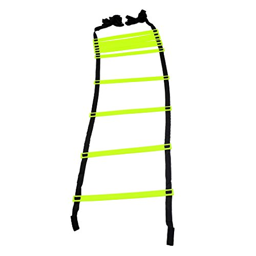 Gsi Speed Ladders Agility Ladder Track and Field Equipment for Sports Training and Soccer Football Tennis Baseball Drills (10 Rungs) (Pack of 1),Plastic, Multicolour
