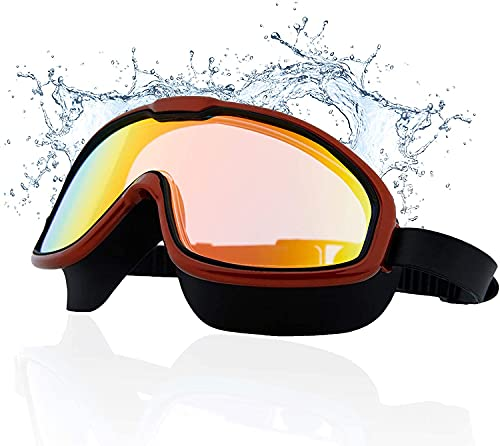 AZOD Swim Goggles, Swimming Goggles No Leaking Anti Fog UV Protection Crystal Clear Vision Triathlon Swim Goggles with Free Protection Case for Adult Men Women Youth Teens